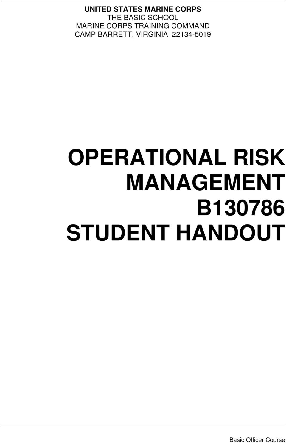 VIRGINIA 22134-5019 OPERATIONAL RISK