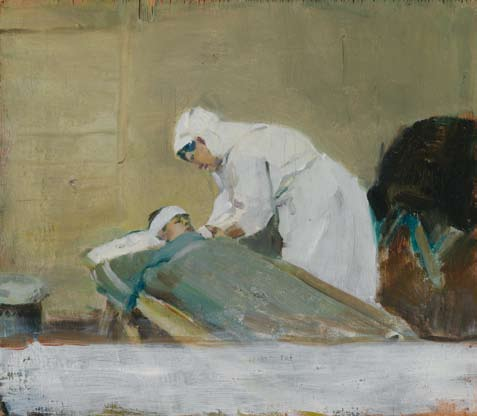 One last thing Frank Crozier, Nurse and patient, 3rd Australian CCS (c. 1918, oil on wood panel, 23.8 x 27.
