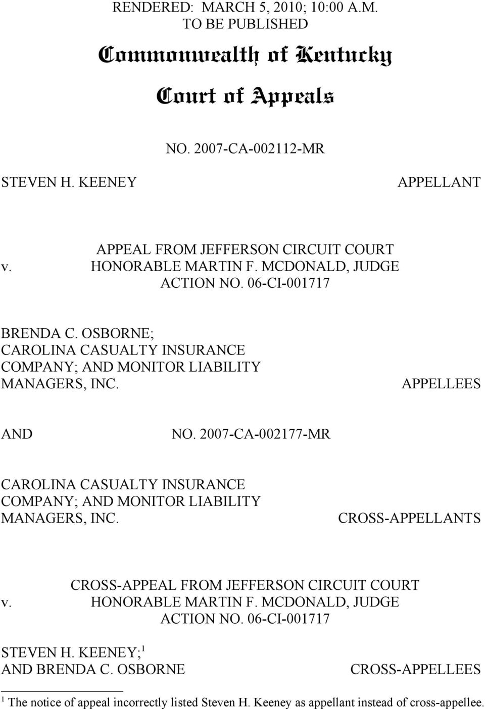 2007-CA-002177-MR CAROLINA CASUALTY INSURANCE COMPANY; AND MONITOR LIABILITY MANAGERS, INC. CROSS-APPELLANTS CROSS-APPEAL FROM JEFFERSON CIRCUIT COURT v. HONORABLE MARTIN F.