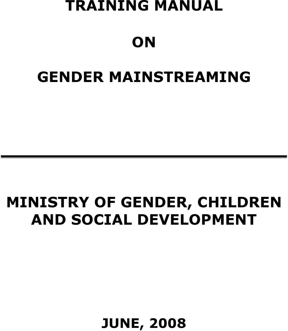 GENDER, CHILDREN AND