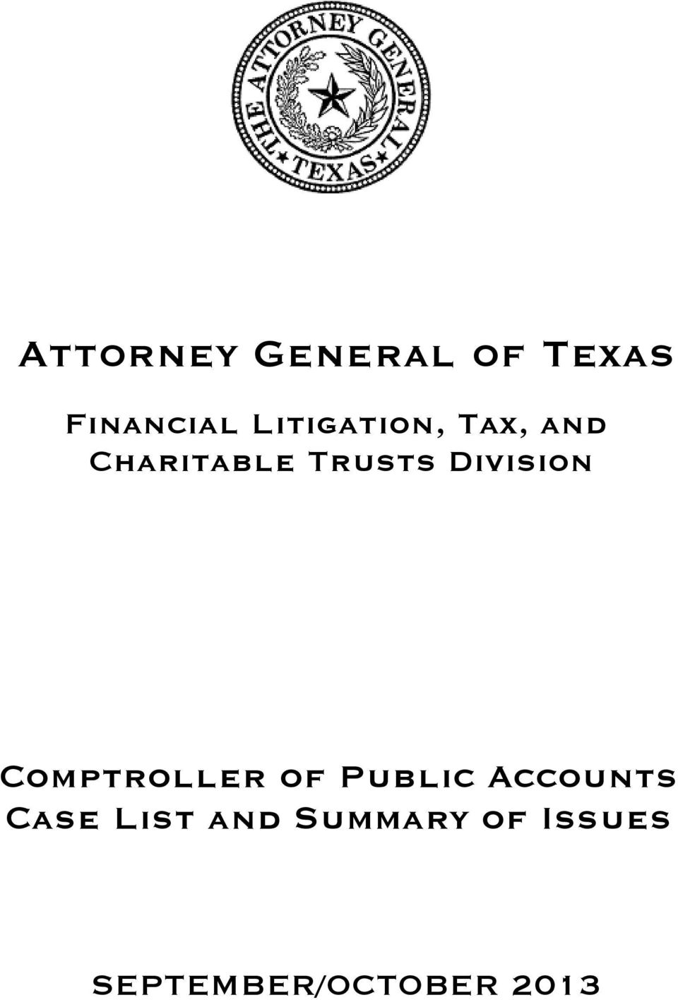 Division Comptroller of Public Accounts