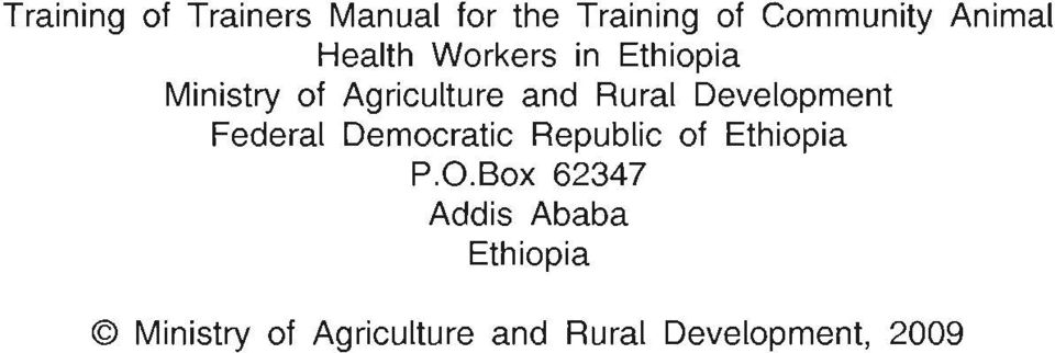 Development Federal Democratic Republic of Ethiopia P.O.
