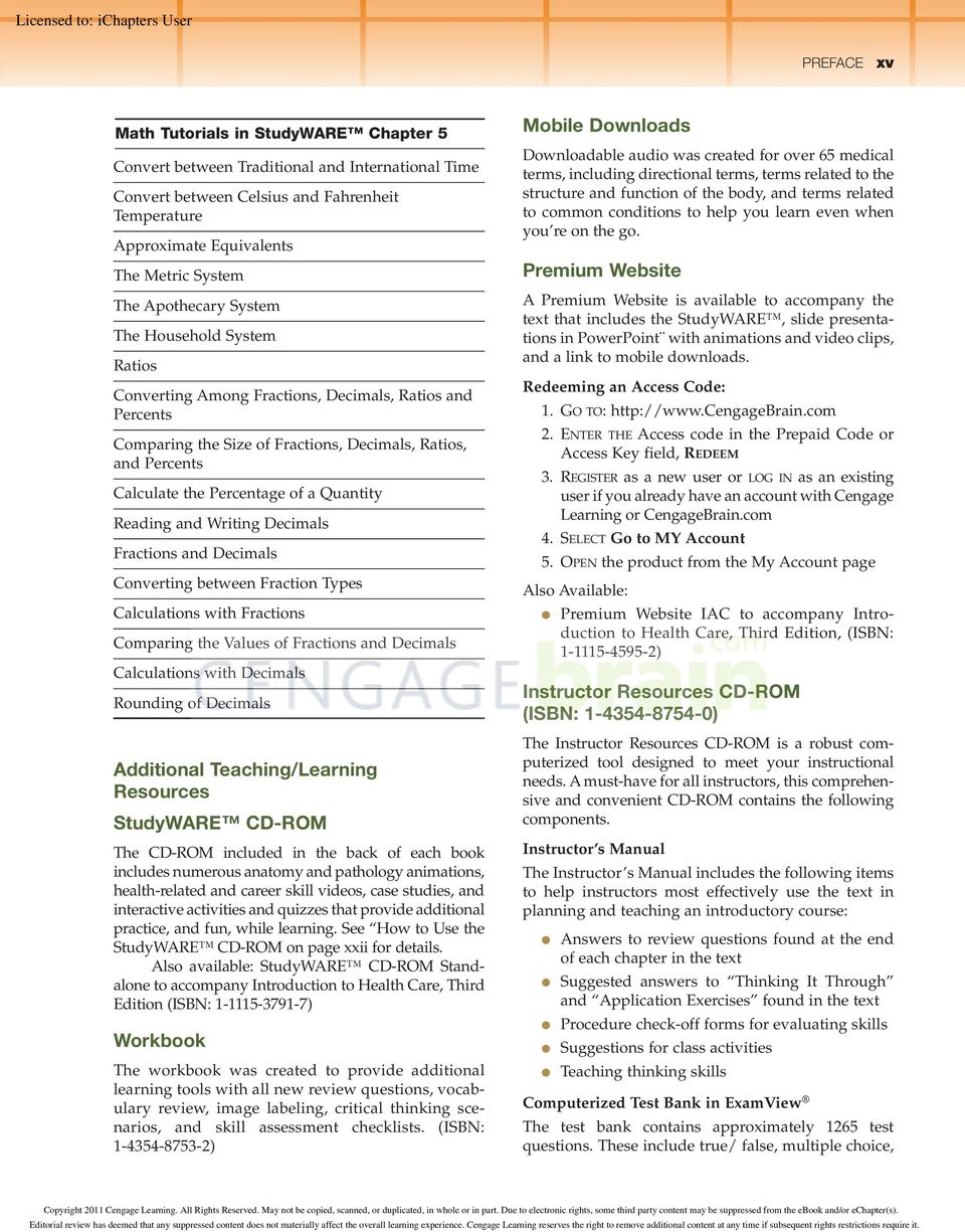 Health care introduction to third edition licensed to pdf quantity reading and writing decimals fractions and decimals converting between fraction types calculations with fractions comparing fandeluxe Images