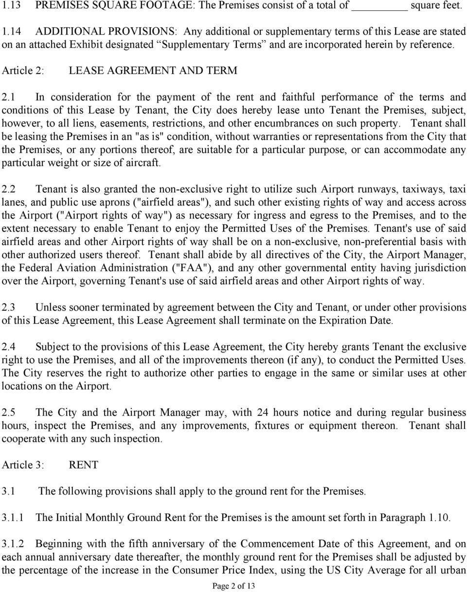 Article 2: LEASE AGREEMENT AND TERM 2.
