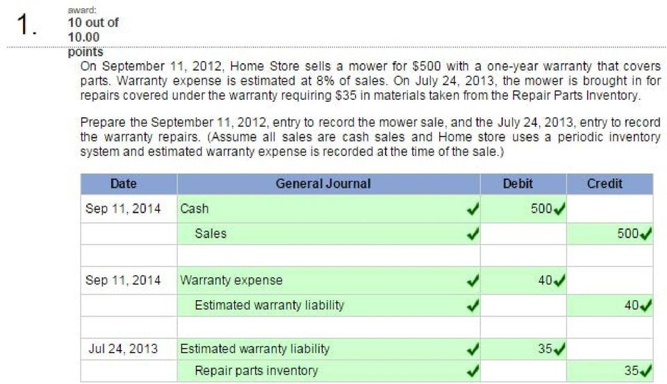 Prepare the September 11, 20 12, entry to record the mower sale, and the July 24, 20 13, entry to record the warran~/ repairs.