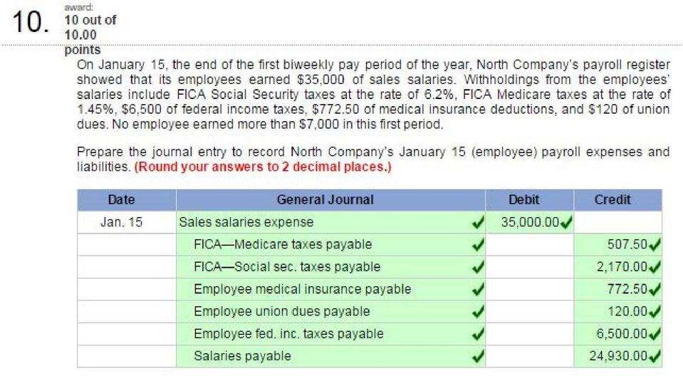 50 of medical insurance deductions, and $120 of union dues. No employee earned more than $7,000 in this first period.