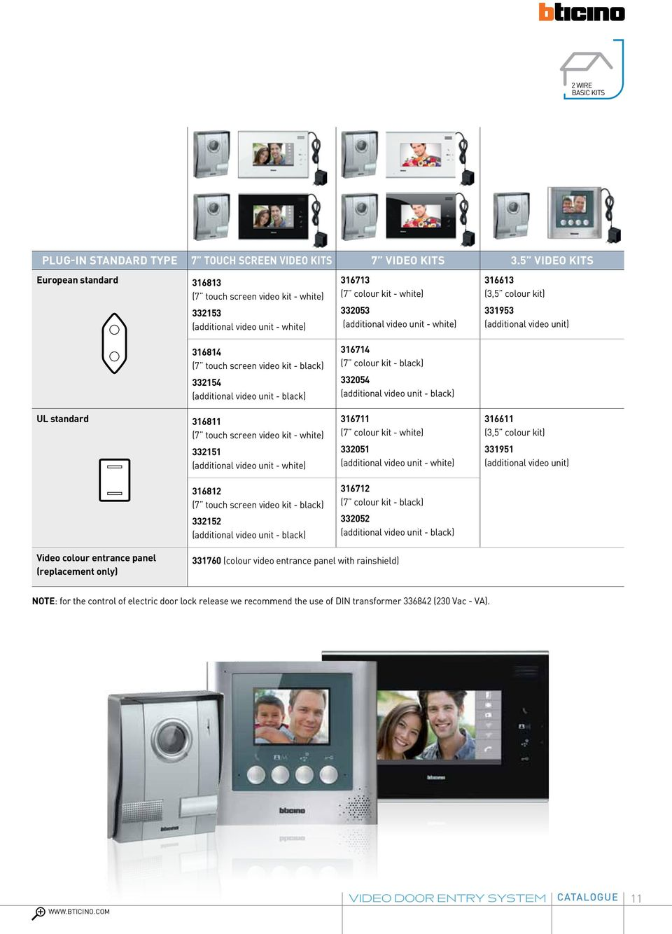 standard 316811 (7 touch screen video kit - white) 332151 (additional video unit - white) 316812 (7 touch screen video kit - black) 332152 (additional video unit - black) 316713 (7 colour kit -