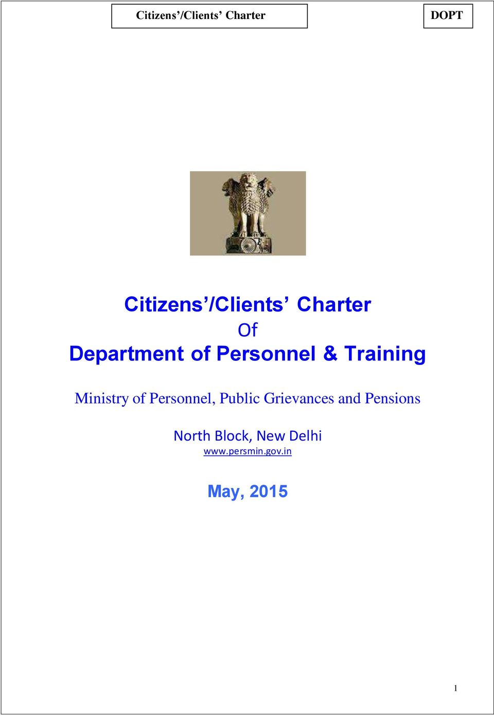 Personnel, Public Grievances and Pensions