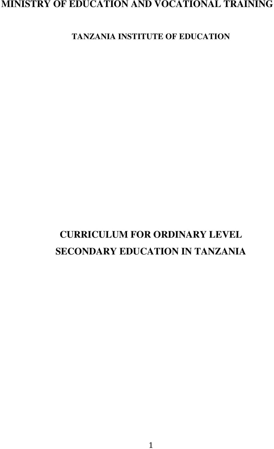 INSTITUTE OF EDUCATION CURRICULUM