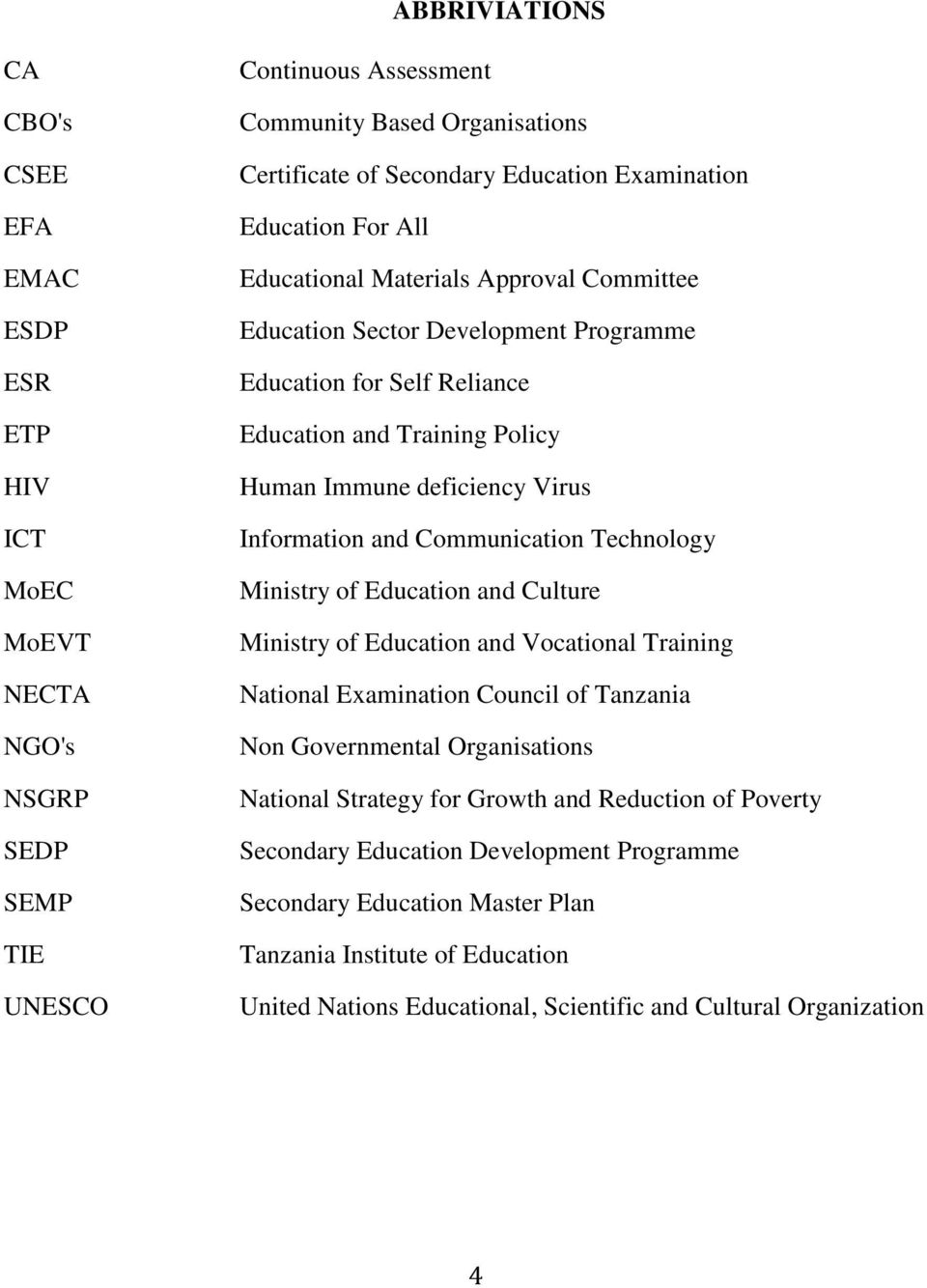 Information and Communication Technology Ministry of Education and Culture Ministry of Education and Vocational Training National Examination Council of Tanzania Non Governmental Organisations