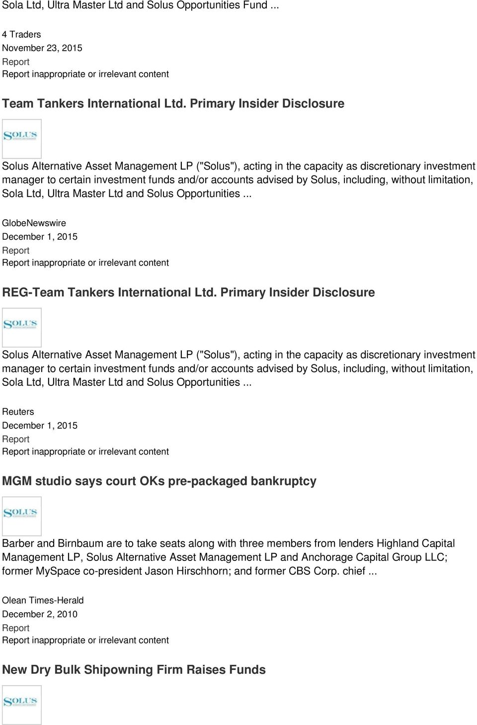 including, without limitation, Sola Ltd, Ultra Master Ltd and Solus Opportunities... GlobeNewswire December 1, 2015 inappropriate or irrelevant content REG-Team Tankers International Ltd.