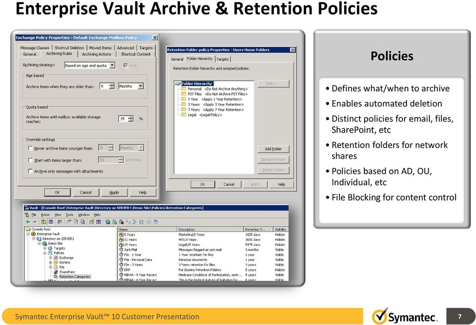 SharePoint, etc Retention folders for network shares Policies based on AD, OU,
