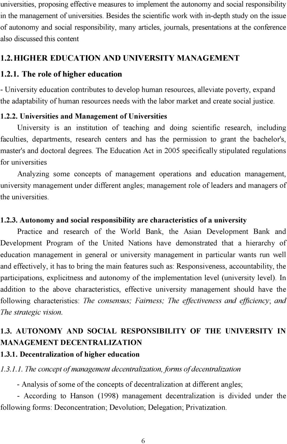 HIGHER EDUCATION AND UNIVERSITY MANAGEMENT 1.