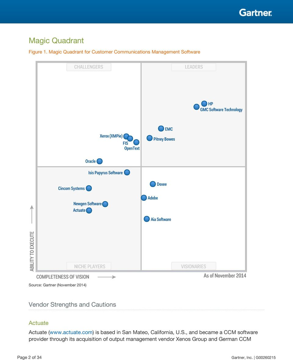 2014) Vendor Strengths and Cautions Actuate Actuate (www.actuate.