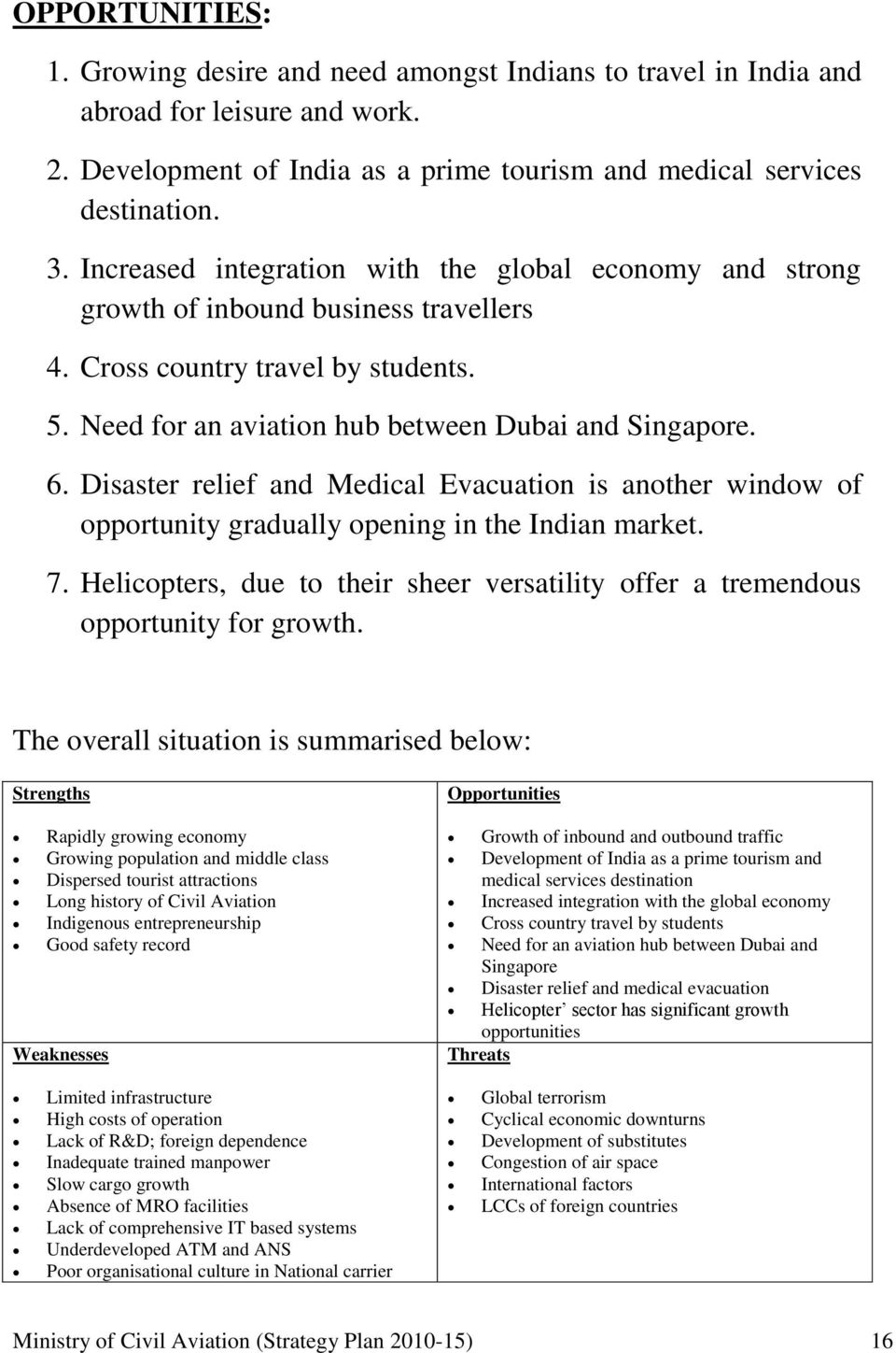 Disaster relief and Medical Evacuation is another window of opportunity gradually opening in the Indian market. 7.