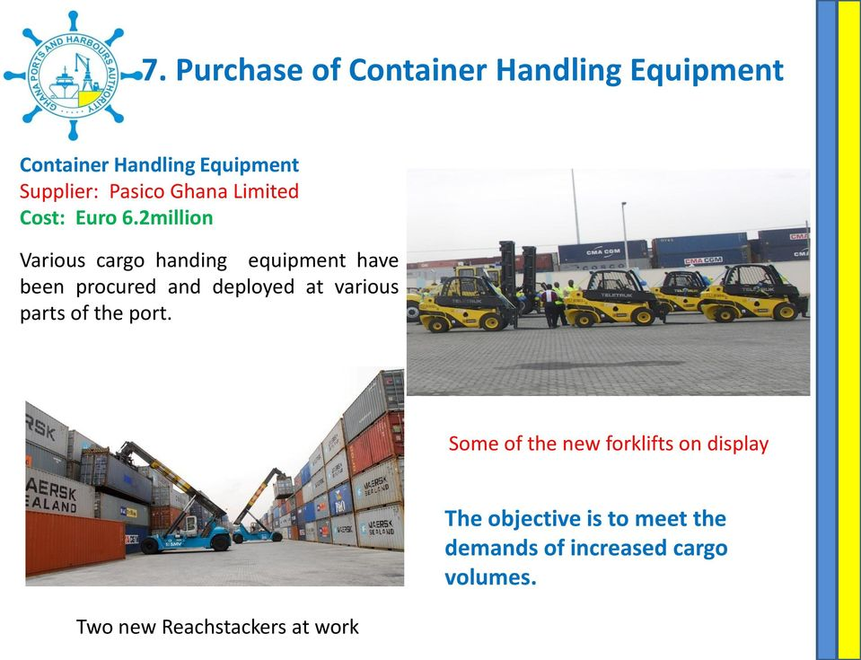 2million Various cargo handing equipment have been procured and deployed at various