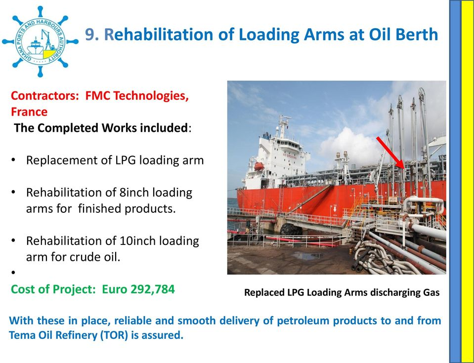 Rehabilitation of 10inch loading arm for crude oil.