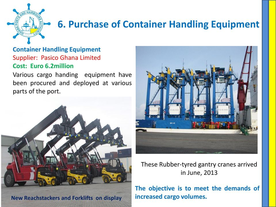 2million Various cargo handing equipment have been procured and deployed at various parts of