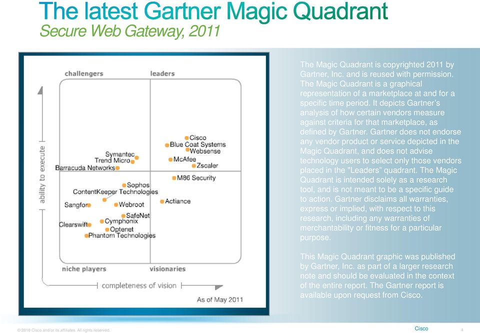 It depicts Gartner s analysis of how certain vendors measure against criteria for that marketplace, as defined by Gartner.