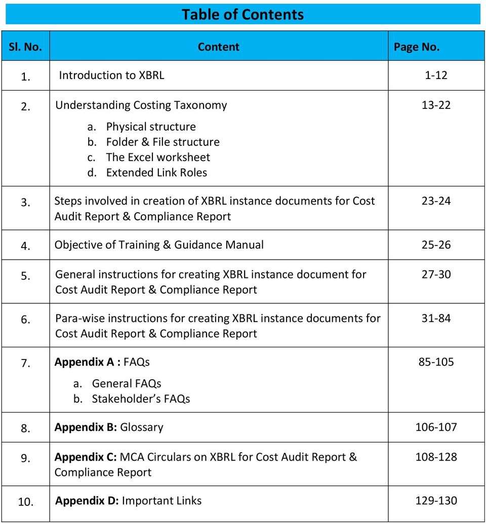General instructions for creating XBRL instance document for Cost Audit Report & Compliance Report 6.