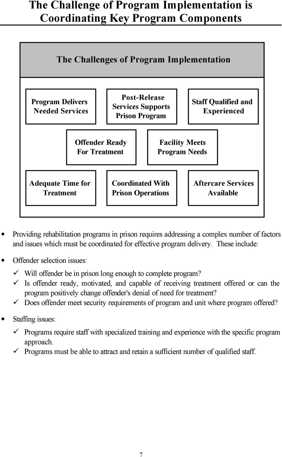 rehabilitation programs in prison requires addressing a complex number of factors and issues which must be coordinated for effective program delivery.