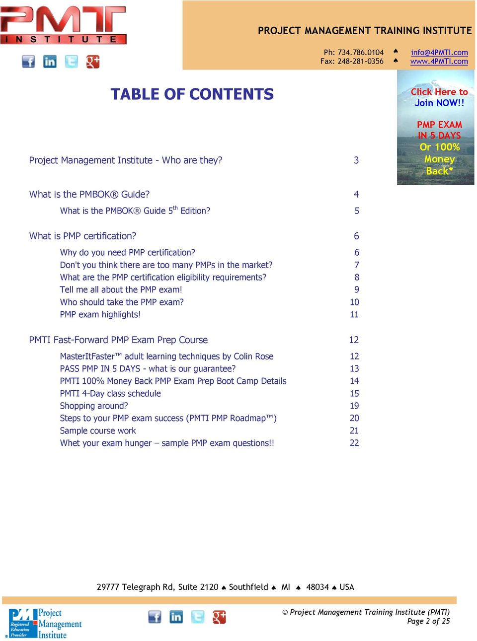 Pmti fast forward pmp exam prep free student infopac pdf 9 who should take the pmp exam 10 pmp exam highlights 11 pmti fast 1betcityfo Image collections