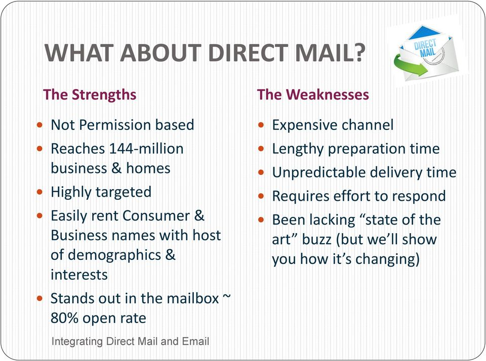 Consumer & Business names with host of demographics & interests Stands out in the mailbox ~ 80% open