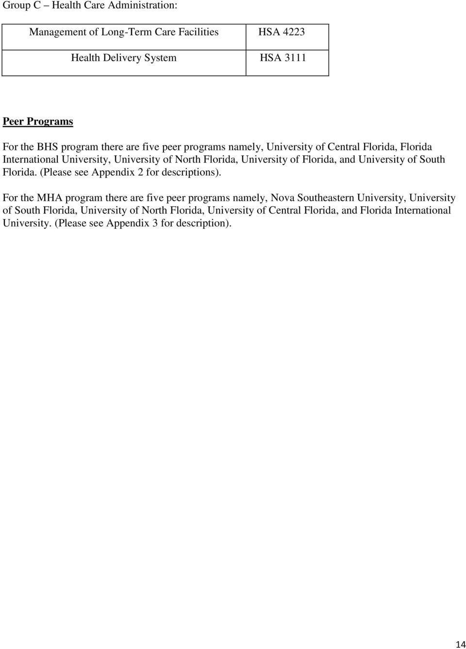 University of South Florida. (Please see Appendix 2 for descriptions).