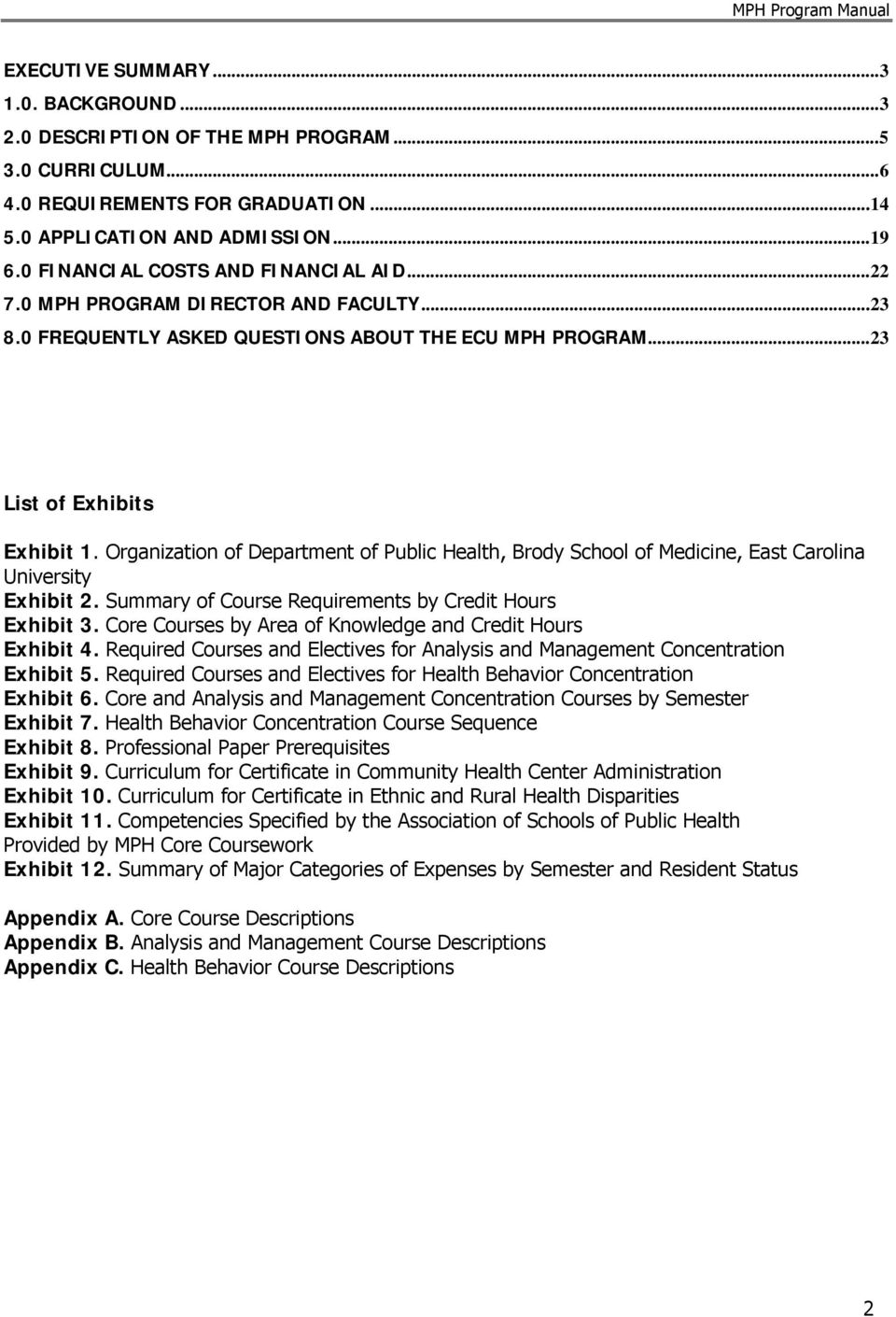 Organization of Department of Public Health, Brody School of Medicine, East Carolina University Exhibit 2. Summary of Course Requirements by Credit Hours Exhibit 3.
