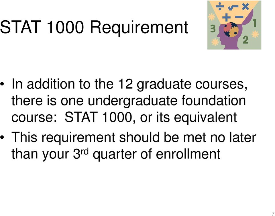 course: STAT 1000, or its equivalent This requirement