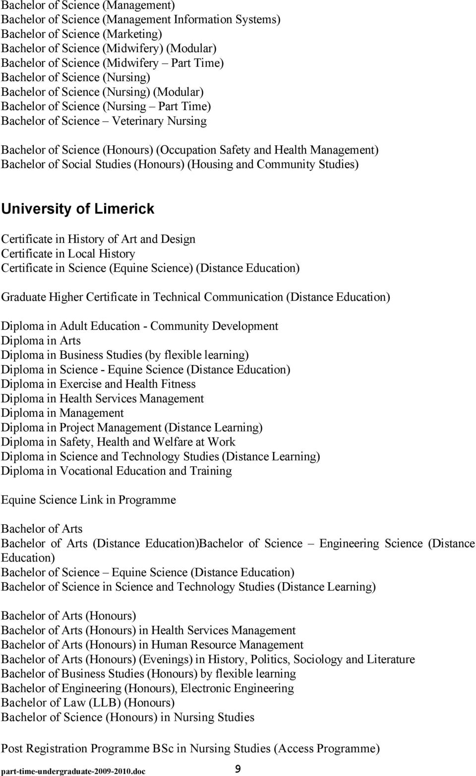 Safety and Health Management) Bachelor of Social Studies (Honours) (Housing and Community Studies) University of Limerick Certificate in History of Art and Design Certificate in Local History