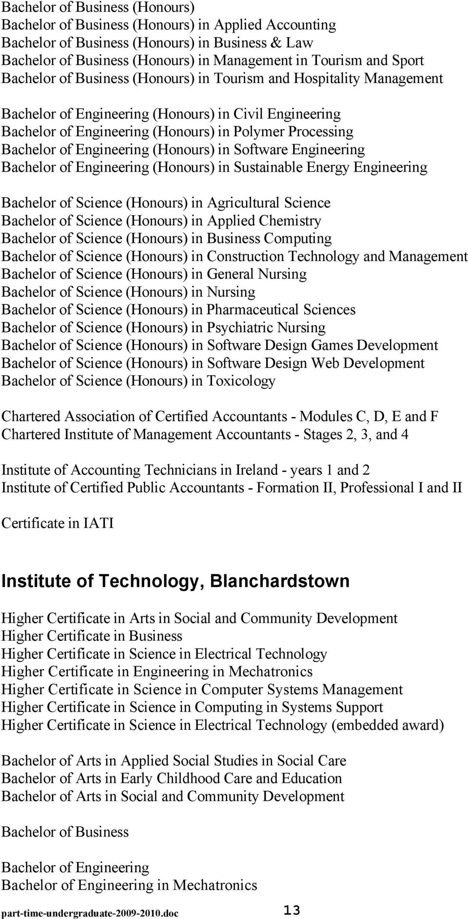 Engineering (Honours) in Software Engineering Bachelor of Engineering (Honours) in Sustainable Energy Engineering Bachelor of Science (Honours) in Agricultural Science Bachelor of Science (Honours)