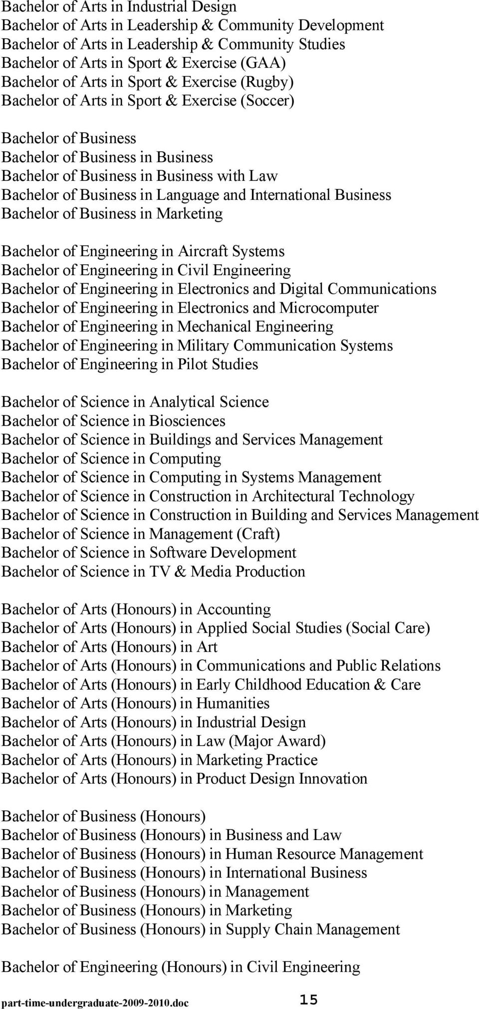 Language and International Business Bachelor of Business in Marketing Bachelor of Engineering in Aircraft Systems Bachelor of Engineering in Civil Engineering Bachelor of Engineering in Electronics