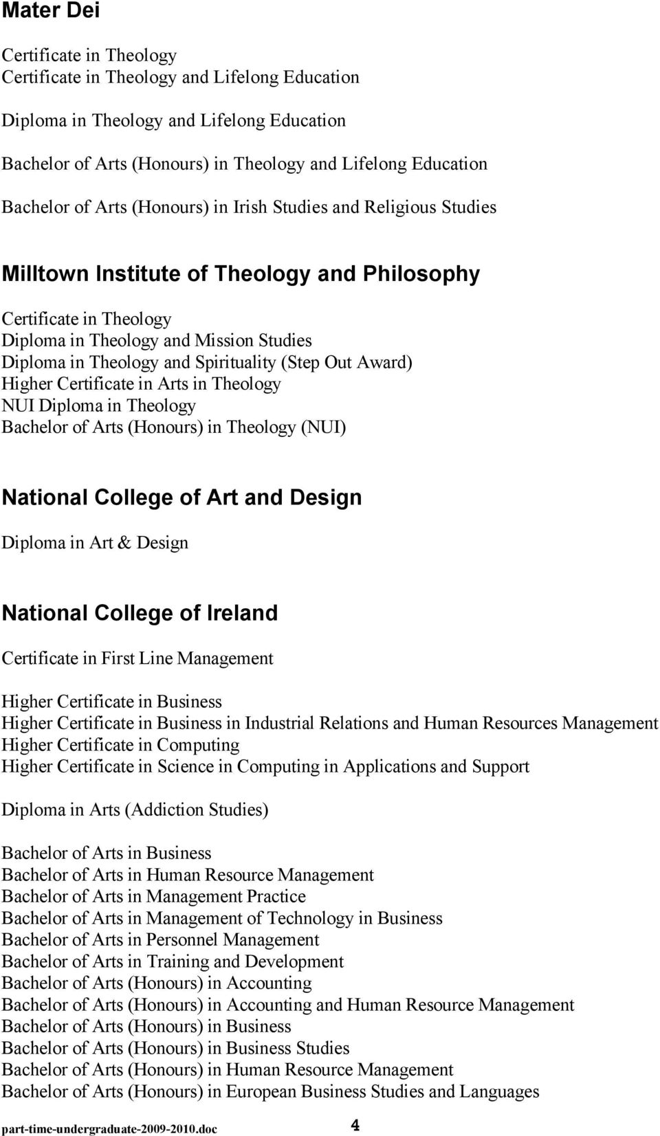 Spirituality (Step Out Award) Higher Certificate in Arts in Theology NUI Diploma in Theology Bachelor of Arts (Honours) in Theology (NUI) National College of Art and Design Diploma in Art & Design