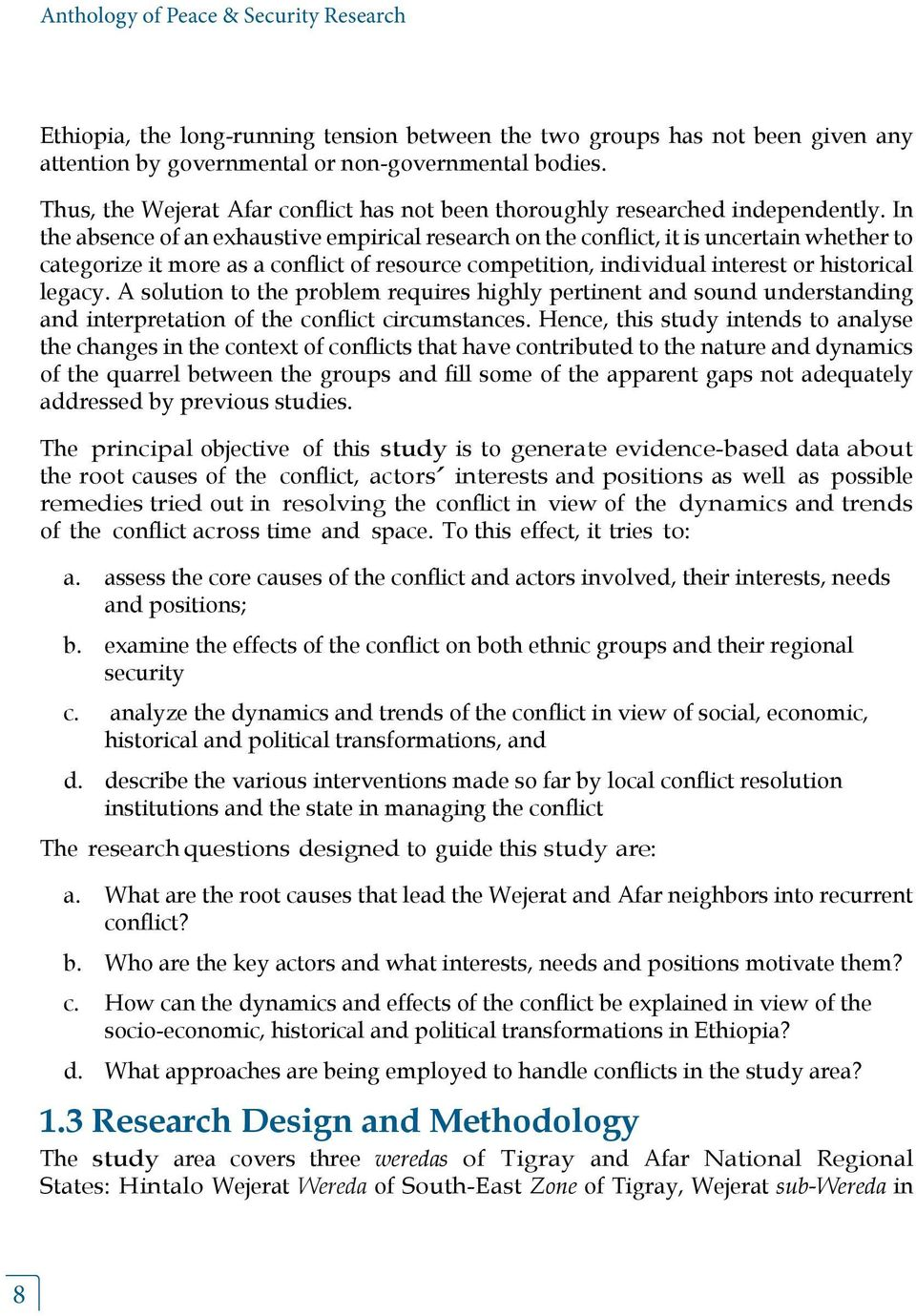 Research questions for master's course in Conflict Resolution & Governance?