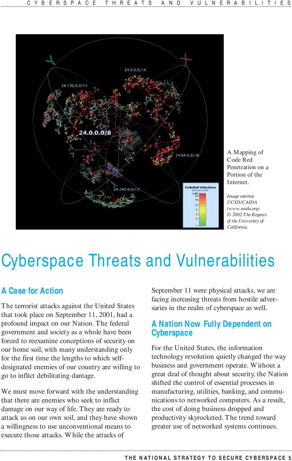 Cyberspace Threats and Vulnerabilities A Case for Action The terrorist attacks against the United States that took place on September 11, 2001, had a profound impact on our Nation.