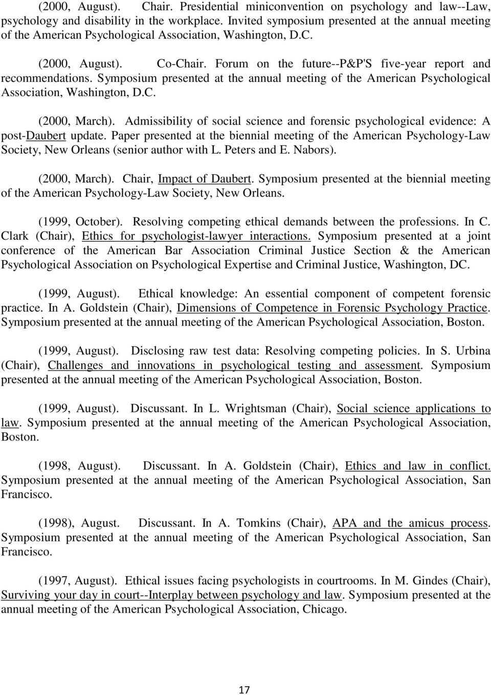 Symposium presented at the annual meeting of the American Psychological Association, Washington, D.C. (2000, March).