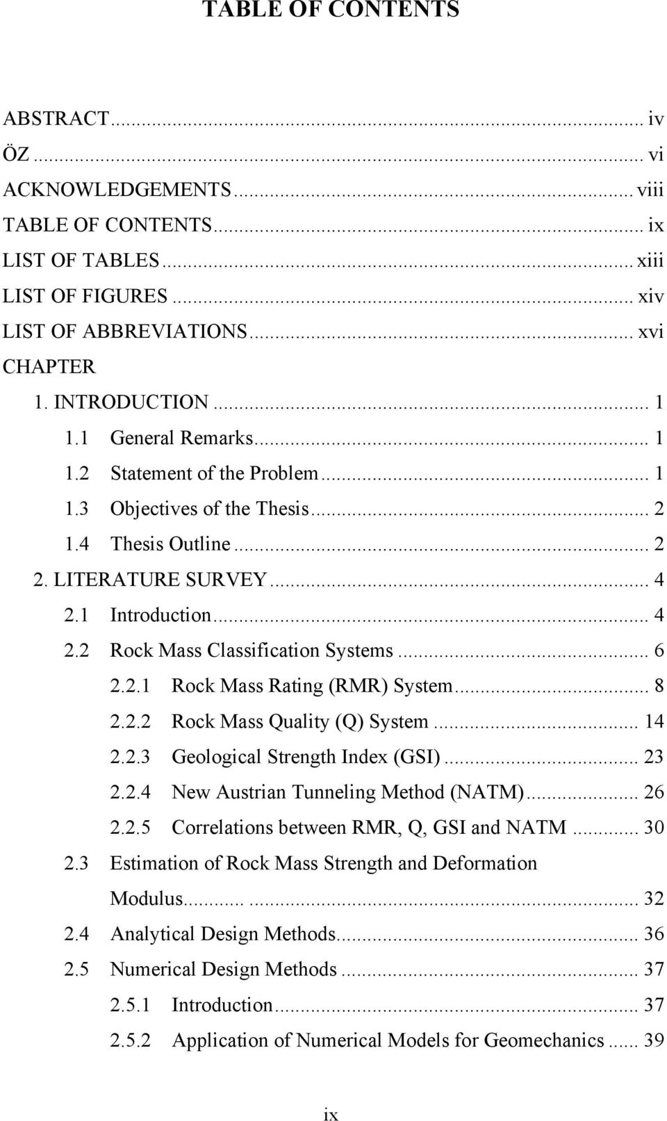 Thesis abbreviations