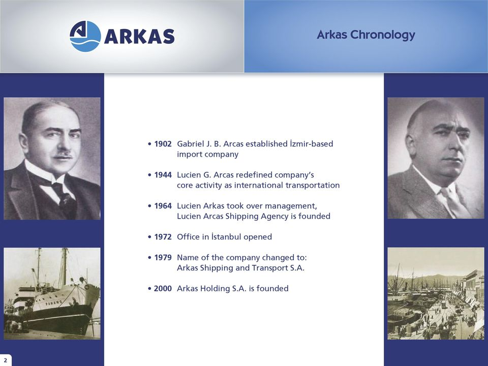 over management, Lucien Arcas Shipping Agency is founded 1972 Office in İstanbul opened 1979
