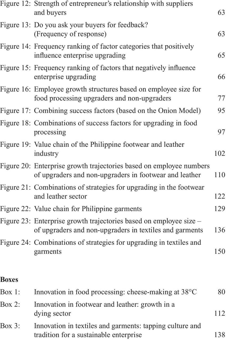 enterprise upgrading 66 Figure 16: Employee growth structures based on employee size for food processing upgraders and non-upgraders 77 Figure 17: Combining success factors (based on the Onion Model)