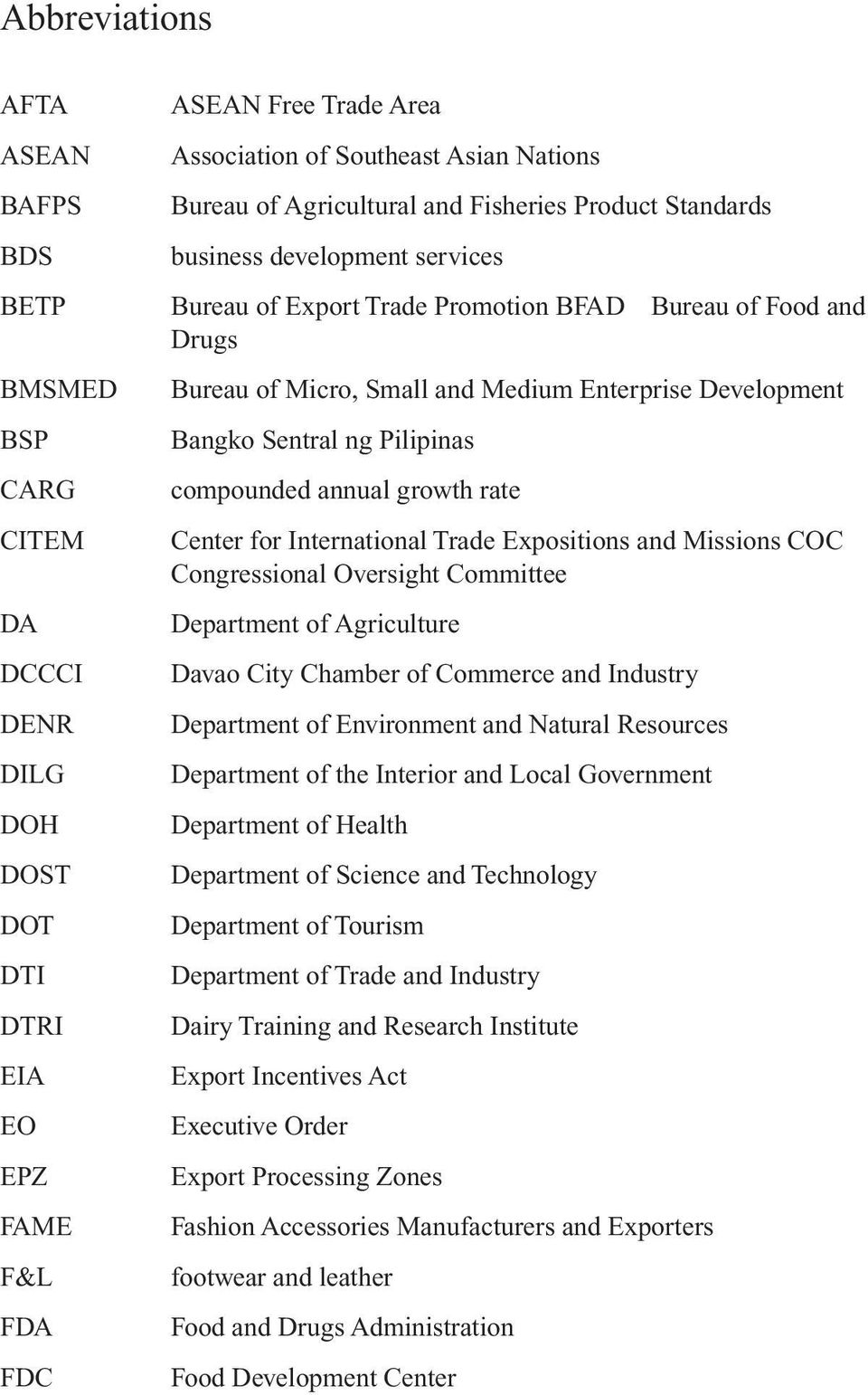 Bangko Sentral ng Pilipinas compounded annual growth rate Center for International Trade Expositions and Missions COC Congressional Oversight Committee Department of Agriculture Davao City Chamber of
