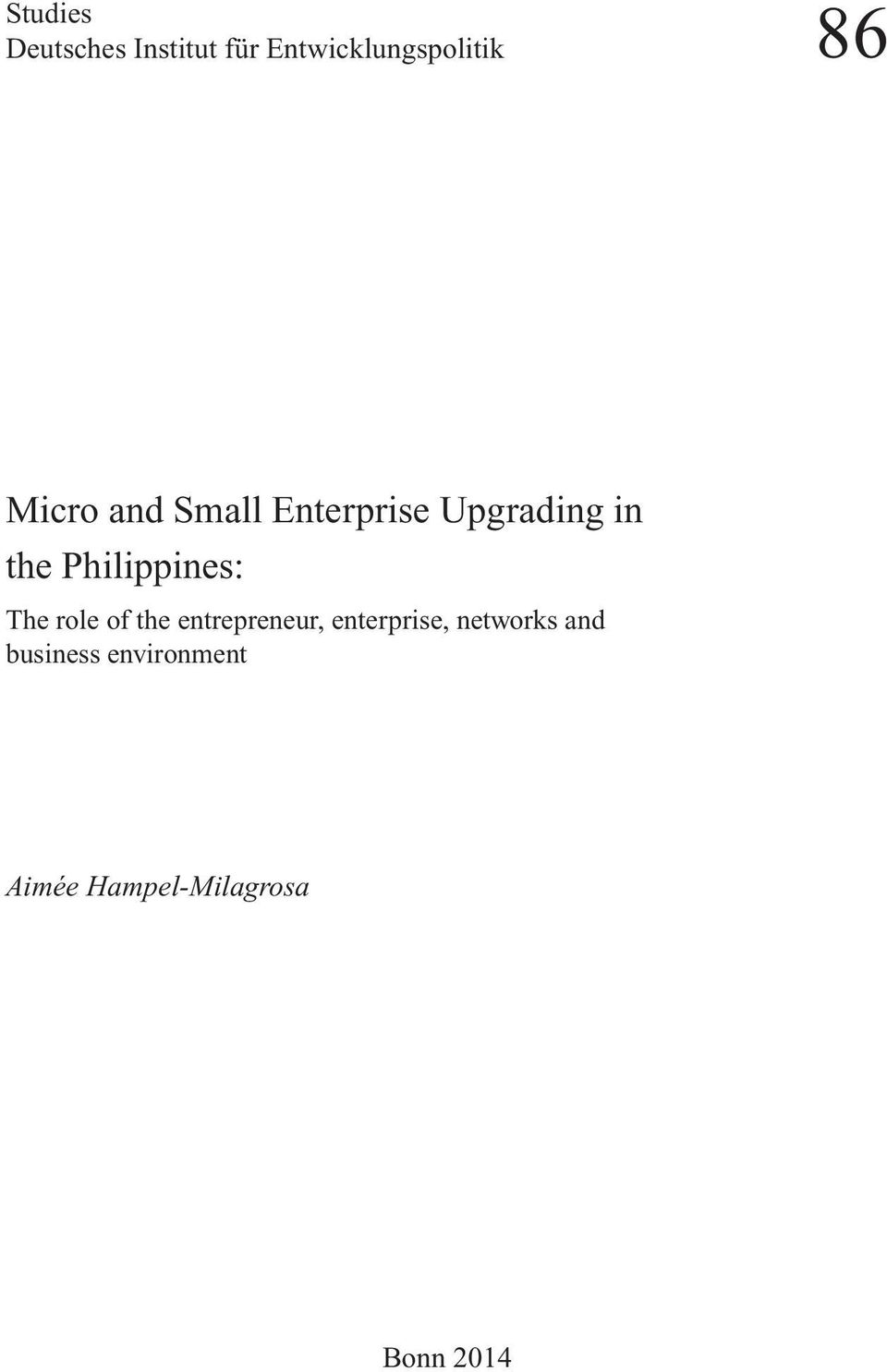 Philippines: The role of the entrepreneur, enterprise,