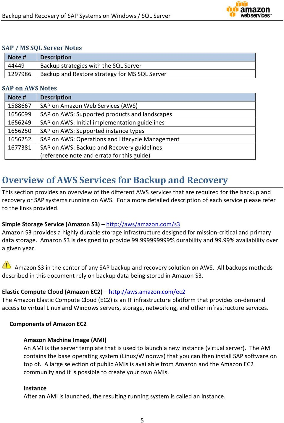 Operations and Lifecycle Management 1677381 SAP on AWS: Backup and Recovery guidelines (reference note and errata for this guide) Overview of AWS Services for Backup and Recovery This section