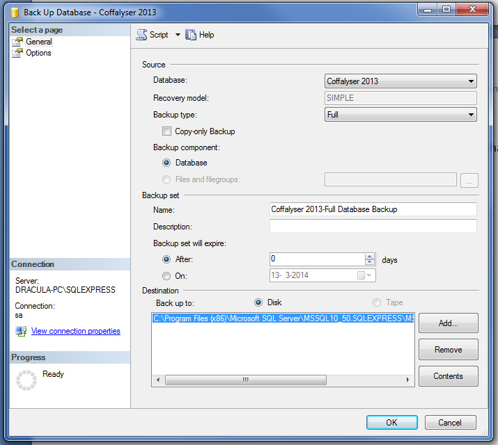 4.3 Set backup location and save file The default backup location is in the progr