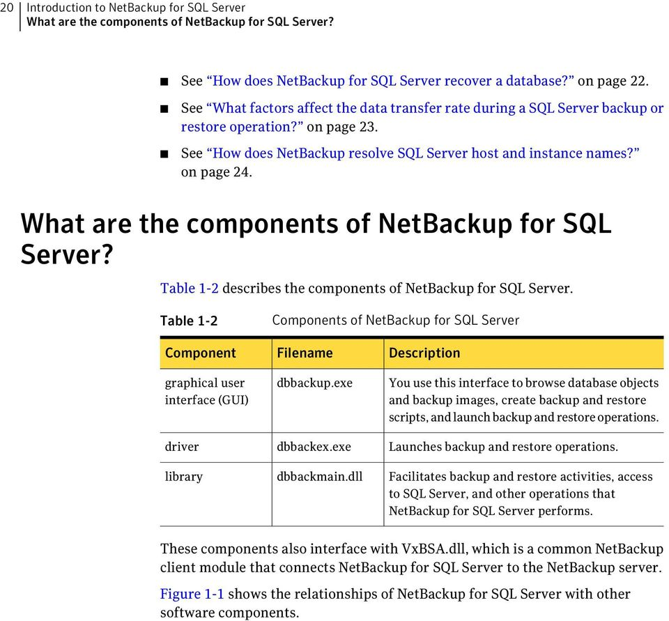 What are the components of NetBackup for SQL Server? Table 1-2 describes the components of NetBackup for SQL Server.