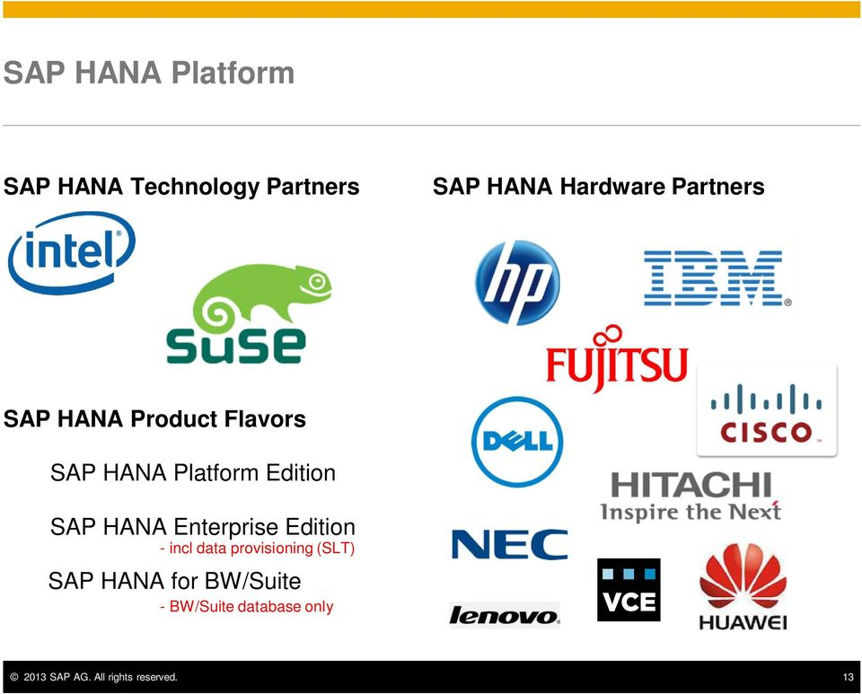 HANA Enterprise Edition - incl data provisioning (SLT) SAP HANA