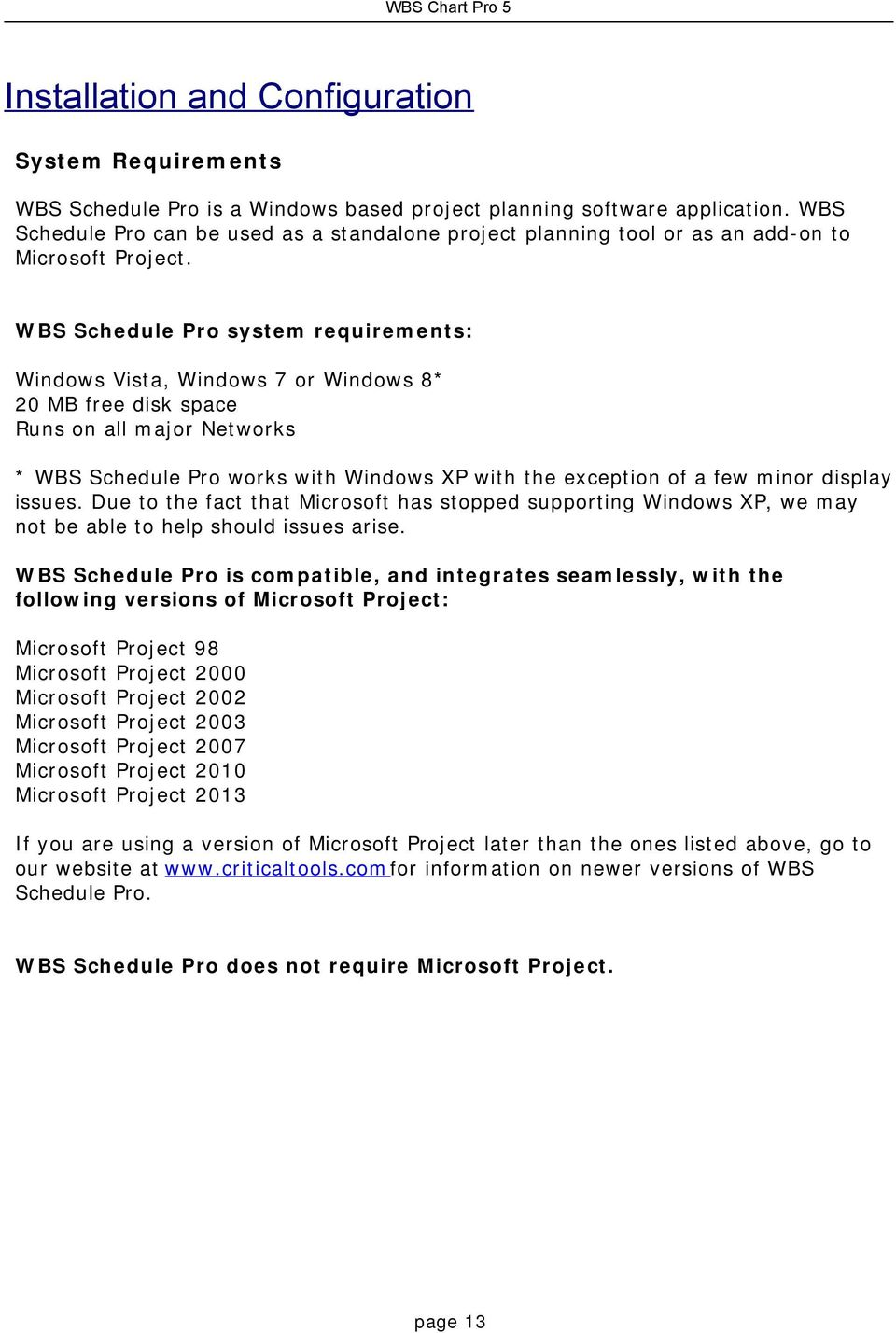 WBS Schedule Pro system requirements: Windows Vista, Windows 7 or Windows 8* 20 MB free disk space Runs on all major Networks * WBS Schedule Pro works with Windows XP with the exception of a few