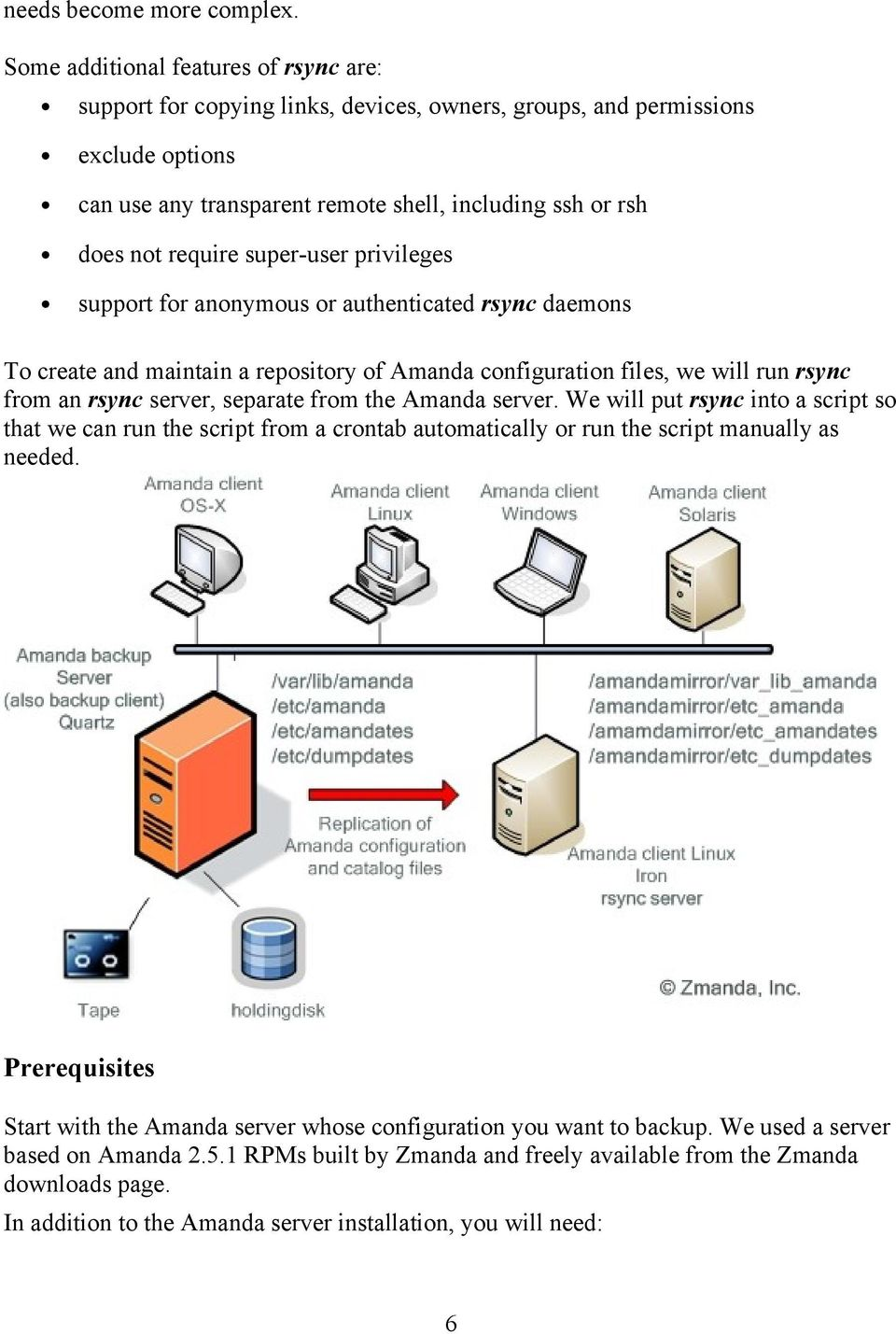 super-user privileges support for anonymous or authenticated rsync daemons To create and maintain a repository of Amanda configuration files, we will run rsync from an rsync server, separate from the