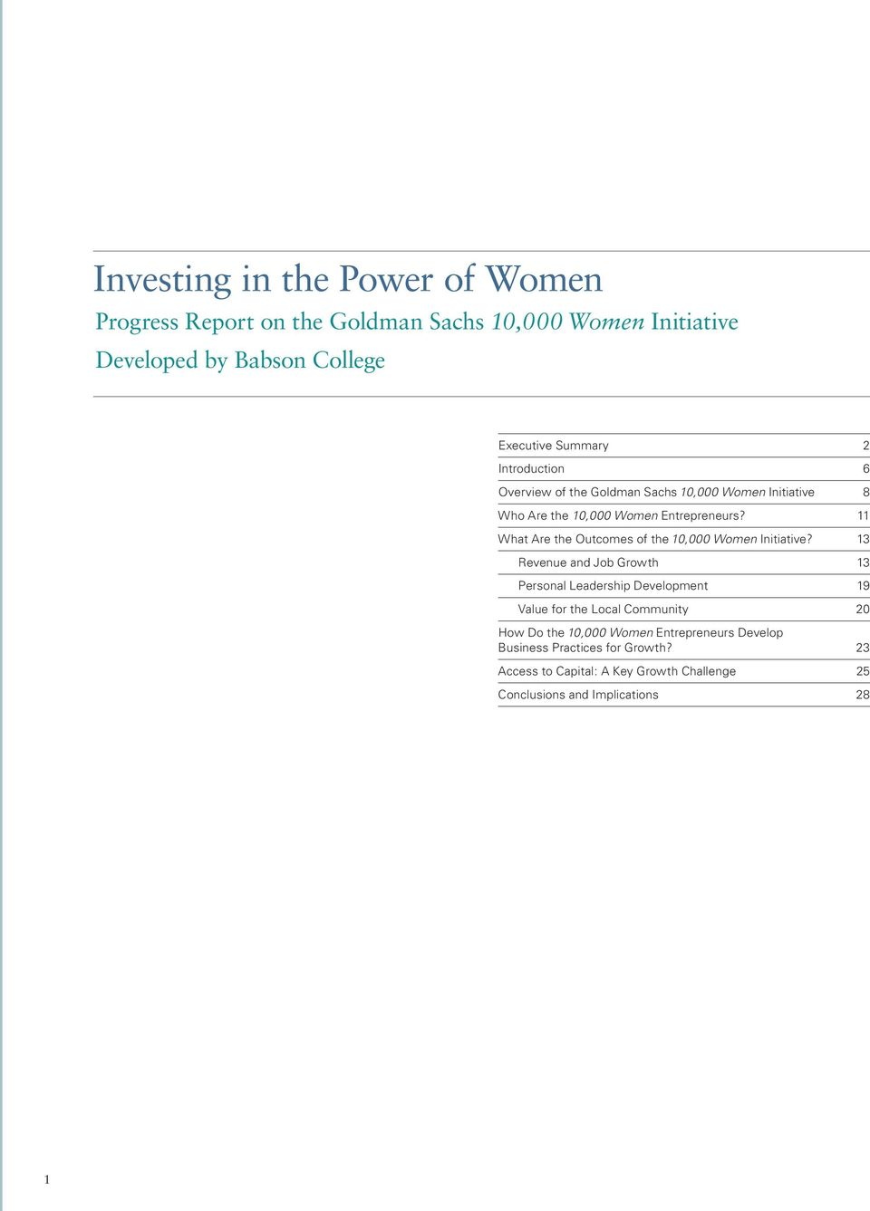 11 What Are the Outcomes of the 10,000 Women Initiative?