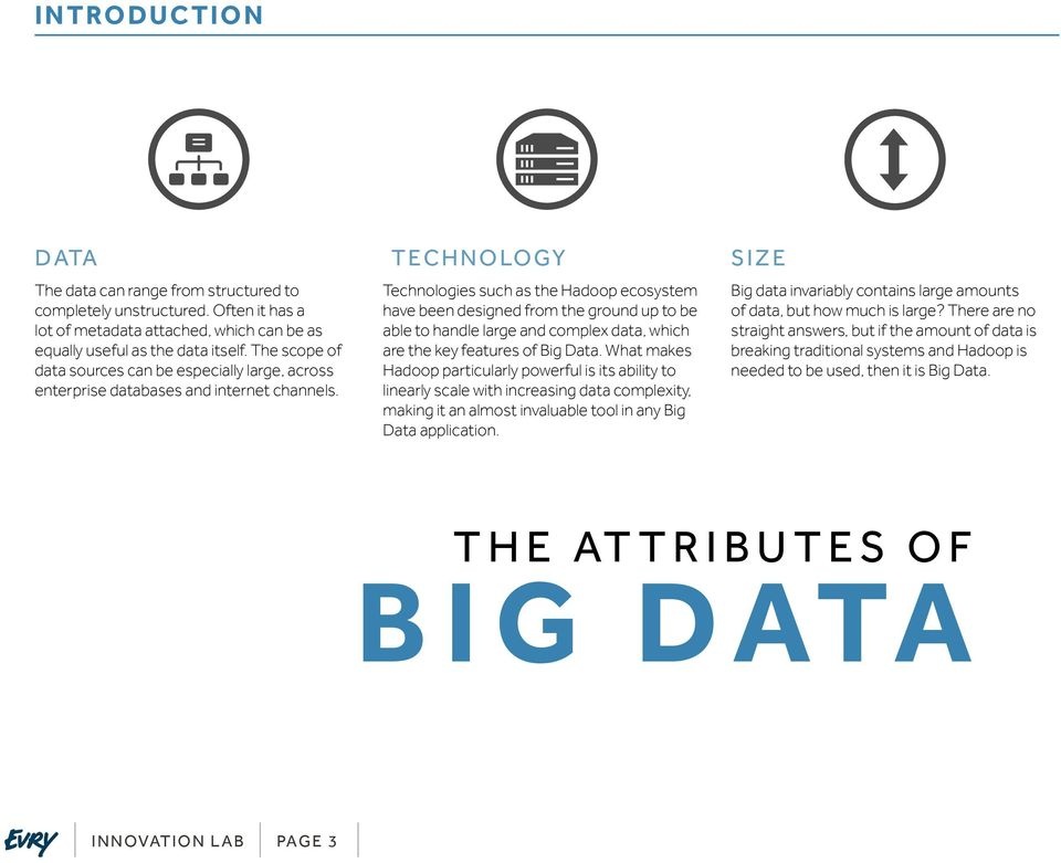 TECHNOLOGY Technologies such as the Hadoop ecosystem have been designed from the ground up to be able to handle large and complex data, which are the key features of Big Data.